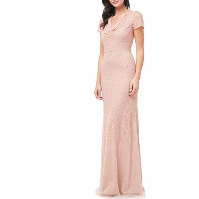 Item - Pink Cowl Neck Beaded Mesh Gown Long Formal Dress Size 10 (M)