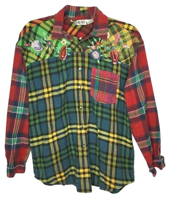 Item - Vintage Womens Plaid Embroidered Button Up Button-down Top Size 10 (M)