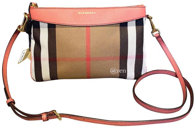 Item - Shoulder House Check Durby Crossbody/ Pink Canvas & Leather Cross Body Bag