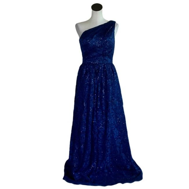 Item - Navy / Blue Infusion Floral Sequin Gown Long Cocktail Dress Size 4 (S)
