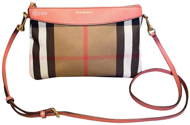 Item - Shoulder House Check Durby / Pink Canvas & Leather Cross Body Bag