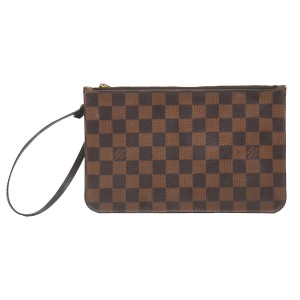 Louis Vuitton Neverfull Pouch Damier Ebene Neverfull Pouch Wristlet in Brown