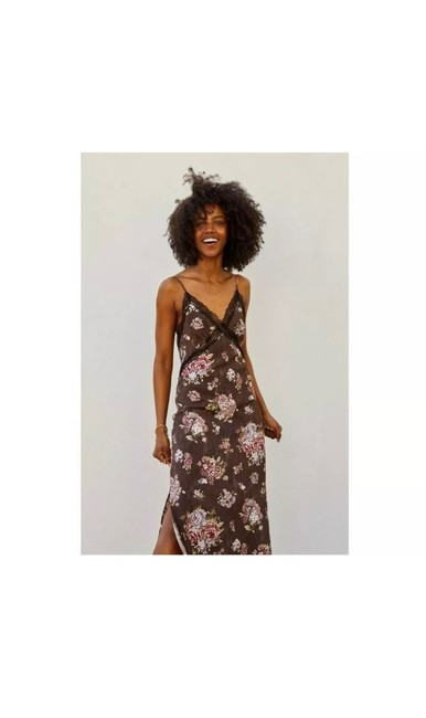 Item - XS X H&m Lyocell Blend Sold Out Floral Brown Long Casual Maxi Dress Size 2 (XS)
