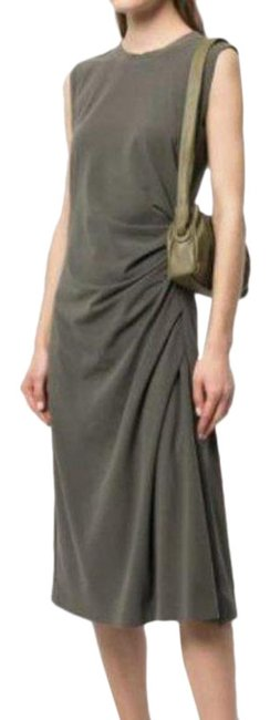 Item - Green Jersey Ruched Midi Mid-length Casual Maxi Dress Size 12 (L)