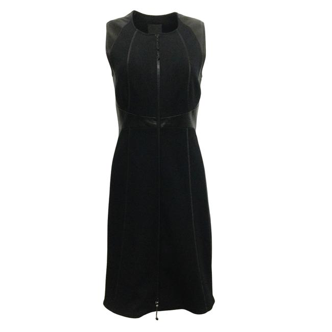 Item - Black Sleeveless Wool and Leather Mid-length Cocktail Dress Size 8 (M)