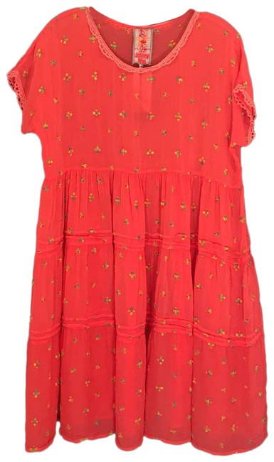 Item - Pink Coral Babydoll Embroidered S Short Casual Dress Size 6 (S)