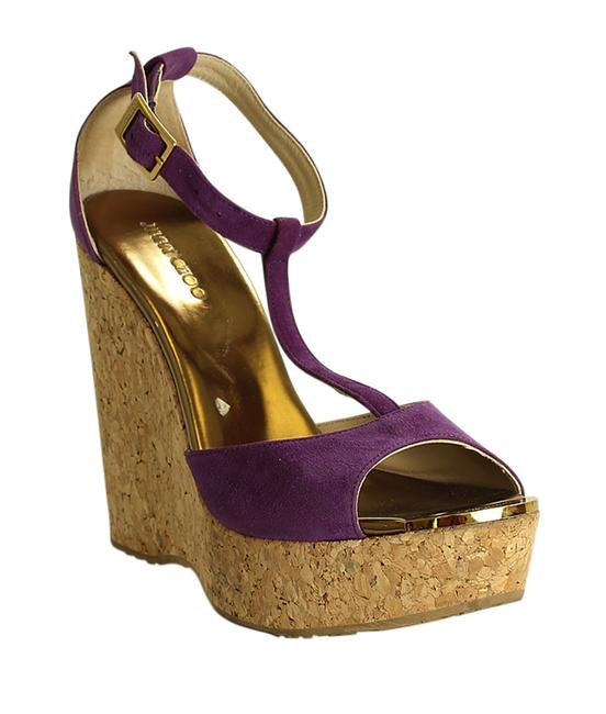 Item - Purple Corked T Strap Suede (201543) Wedges Size EU 38 (Approx. US 8) Regular (M, B)