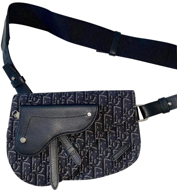 Item - Saddle Pouch Navy Oblique Jacquard Black and Blue Leather Cross Body Bag