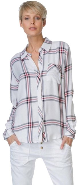 Item - White Red Navy Blue Flannel Hunter Plaid Button-down Top Size 4 (S)