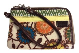 Fossil Green, brown, blue, orange Clutch