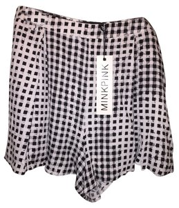 MINKPINK High Waisted Gingham Casual Dressy Mini/Short Shorts black/white