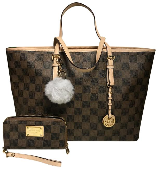 Item - Rare Checkered and Matching Wallet Black Brown Beige Leather Tote