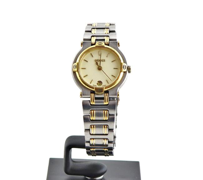 Item - Gold Silver Vintage 9000l Two-tone White Face Ladies Watch