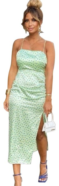 Item - Satin Effect Floral Print Mid-length Night Out Dress Size 4 (S)