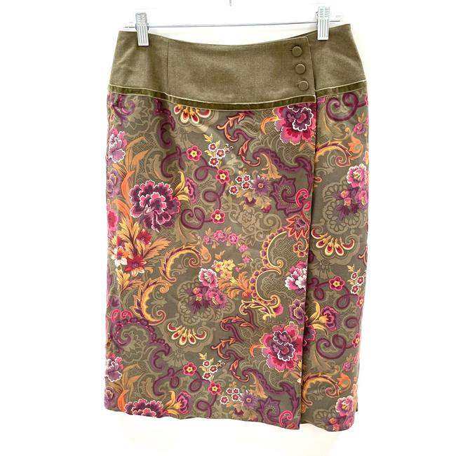 Item - Green Floral Wrap Skirt Size 8 (M, 29, 30)