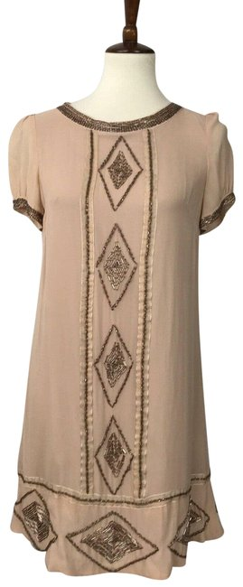 Item - Brown Silk Beaded Mini Lined Shift Flaws Short Cocktail Dress Size 4 (S)