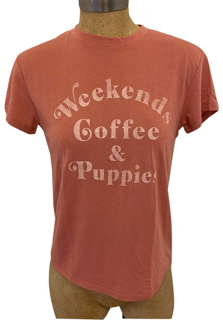 """Item - Pink """"Weekend Coffee & Puppies"""" Graphic Tee Shirt Size 4 (S)"""