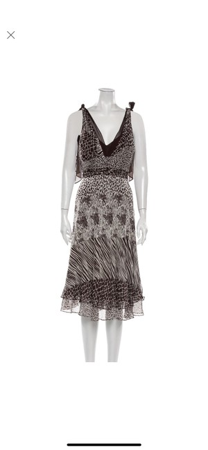 Item - Brown and Beige Silk Mid-length Cocktail Dress Size 12 (L)