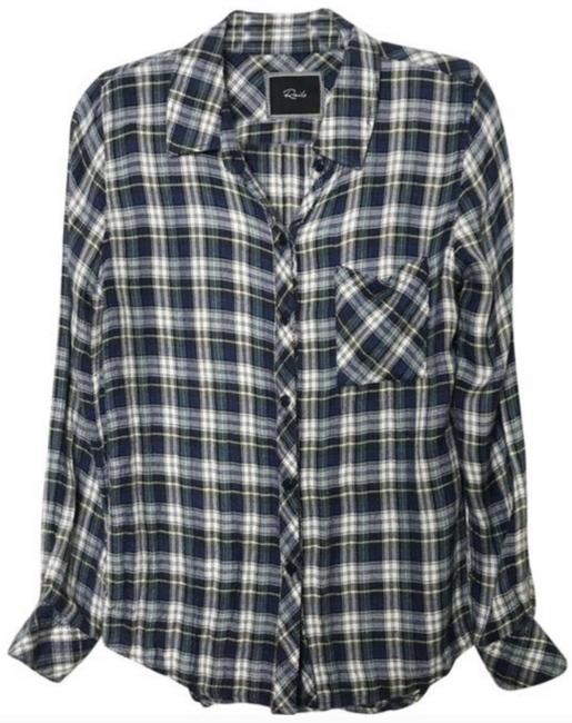 Item - Blue/Green Plaid Flannel Button-down Top Size 4 (S)