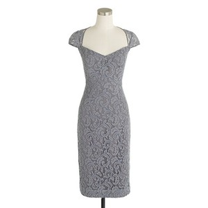 J.Crew Storm Grey Lace Tinsley In Leavers Formal Bridesmaid/Mob Dress Size 4 (S)