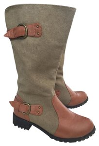 Twisted Shoes Olive Green/ Camel Boots