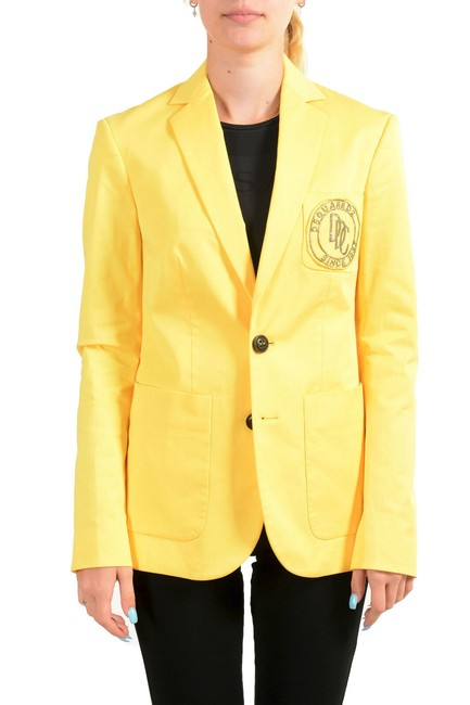 Item - Bright Yellow Women's Logo Decorated Two Button Blazer Size 4 (S)