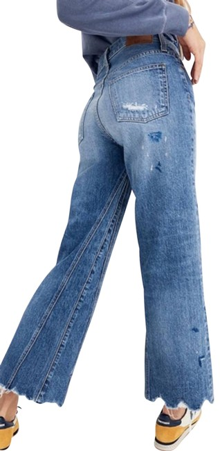 Item - Blue Rivet and Thread Crop Raw Trouser/Wide Leg Jeans Size 30 (6, M)