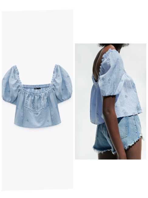 Item - Blue XS Openwork Embroidered Blouse Size 2 (XS)