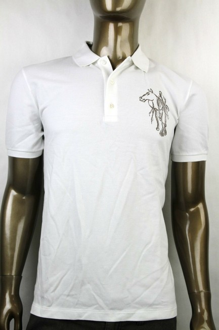 Item - White New Men's Slim Fit Embroidered Horse Polo Top 3xl 338567 9000 Shirt