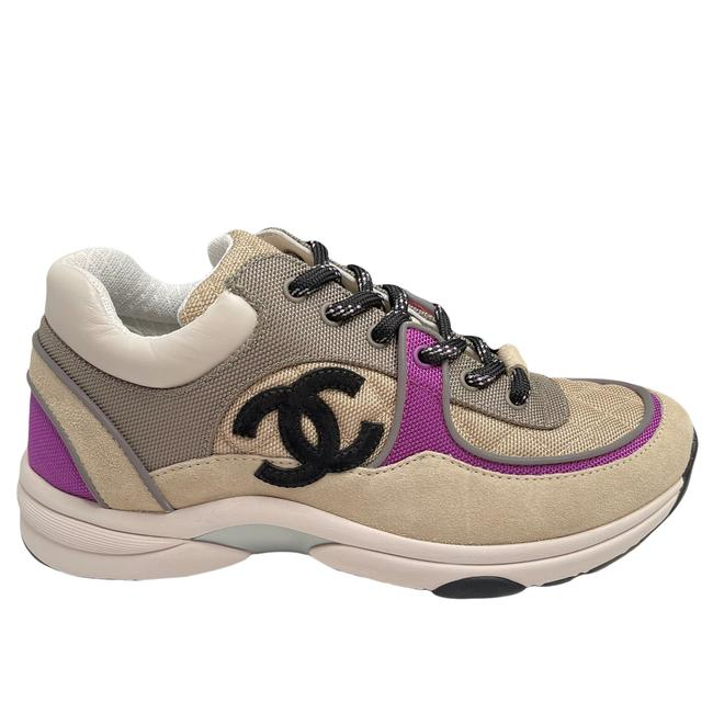 Item - Black Beige Purple 21b White Cc Logo Quilted Runner Trainer Sneakers Size EU 39 (Approx. US 9) Regular (M, B)