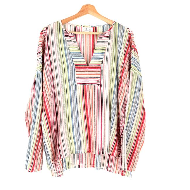 Item - Multicolor Made In Usa Shimmer Stripe Tunic Blouse Size 4 (S)