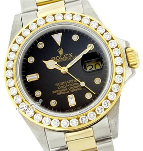 Rolex ROLEX 40MM BLACK SUBMARINER DIAMOND TWO TONE WATCH