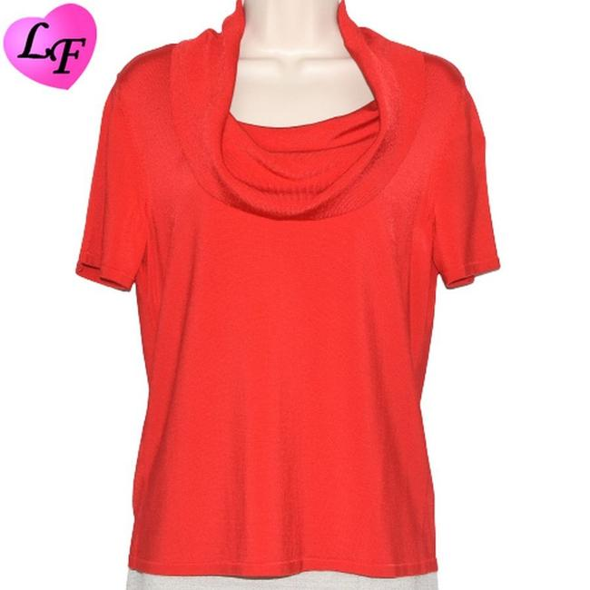 Item - Short Sleeve Cowl Neck Size Large Red Sweater