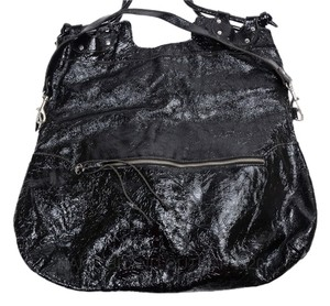 Pietro Alessandro Purse Patent Leather Foldover Tote in Black