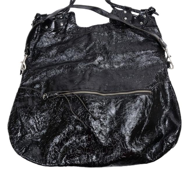 Item - Patent Fold-over Black Leather Tote