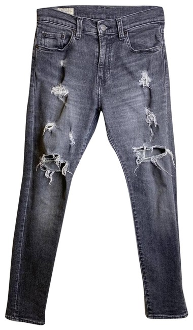 Item - Black Premium Wash Relax Fit Destroyed High Rise Womens Straight Leg Jeans Size 29 (6, M)