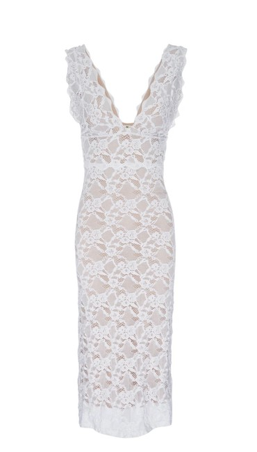 Item - White Wisteria Midi Gown Mid-length Cocktail Dress Size 4 (S)