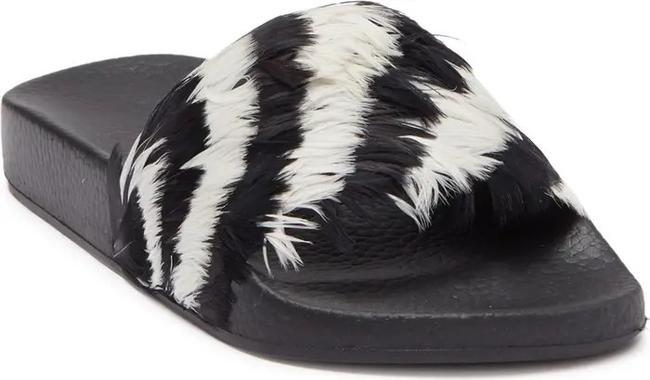 Item - Black and White Feather Slide Sandals Size EU 39 (Approx. US 9) Regular (M, B)