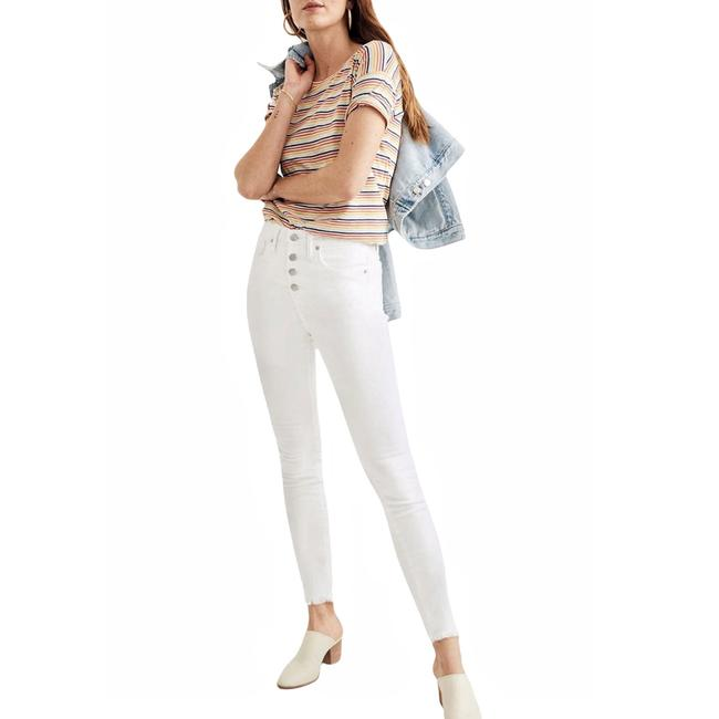 """Item - White Light Wash 9"""" Mid-rise Pure Skinny Jeans Size 0 (XS, 25)"""