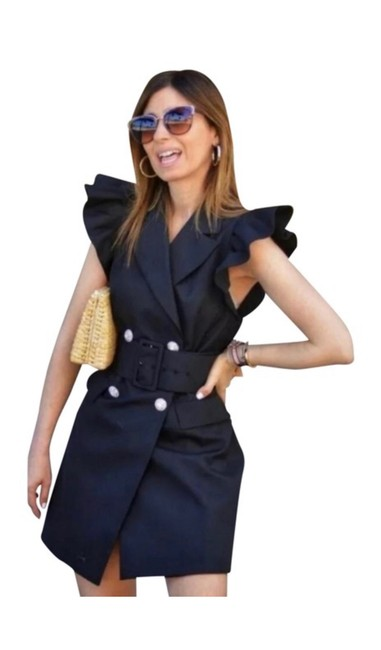 Item - Black Belted Short Night Out Dress Size 4 (S)