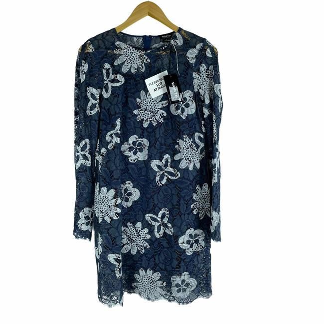 Item - Blue Ny Lace Floral Bell Sleeve Short Casual Dress Size 6 (S)