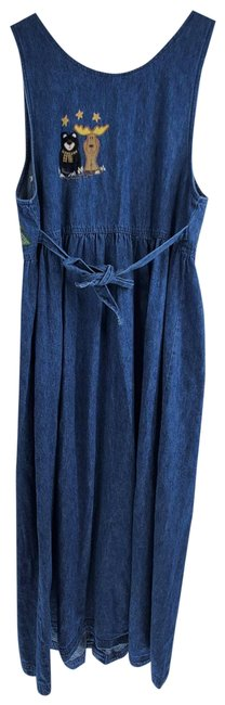 Item - Blue Vintage Winter Embroidered Chambray Button Up A-line Long Casual Maxi Dress Size 10 (M)