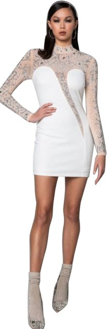 Item - White/Champagne It's Everything For Me Mini Rhinestones Bccds42932 Short Night Out Dress Size 8 (M)