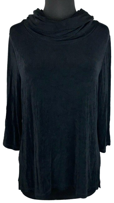 Item - Black Travelers-by-chico's -1- Us M/8 Cowl Roll Neck Slinky Travel Knit Blouse Size 8 (M)