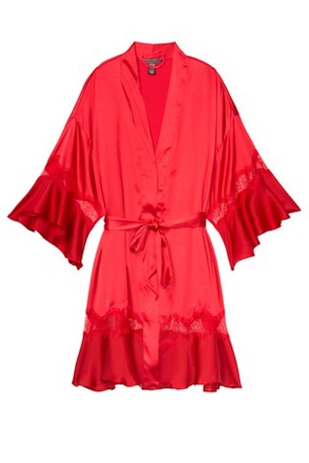 Item - Red XS Satin Bell Sleeves Robe Xs/S Cardigan Size 4 (S)
