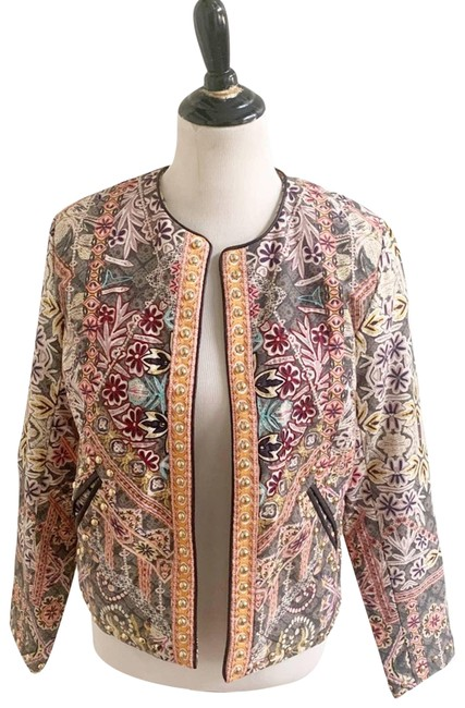 Item - Tan Quilted Studded Jacket Small Blazer Size 6 (S)