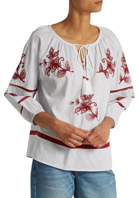 Item - Navy/White Embroidered Striped Peasant Blouse Size 2 (XS)