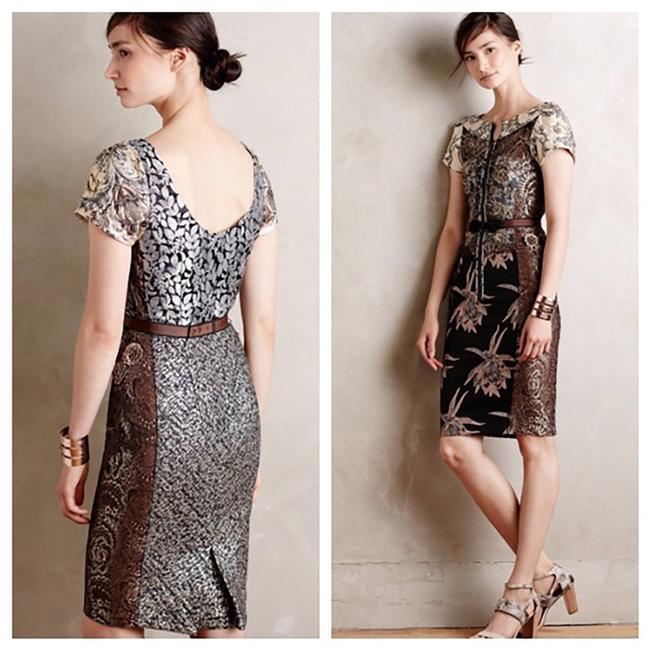 Item - Beige/Brown/Silver/Gold Beguile Mid-length Cocktail Dress Size 0 (XS)
