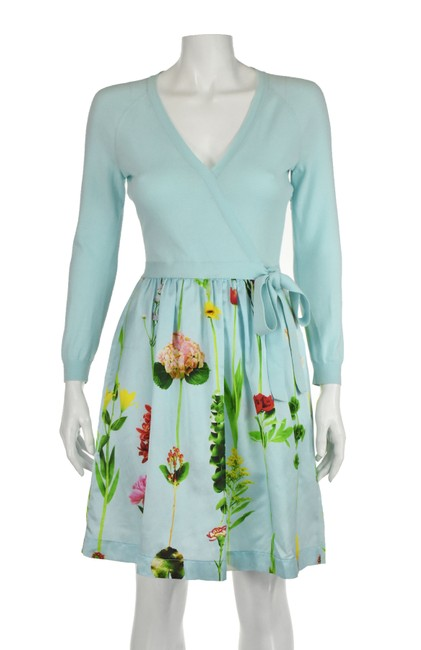 Item - Robin's Egg Blue Couture Knit and Floral Short Casual Dress Size 6 (S)
