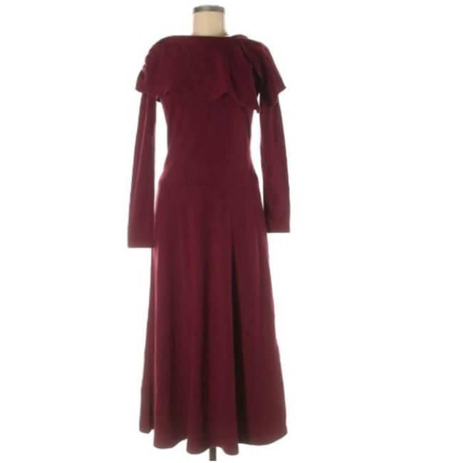 Item - Red Burgundy Ruffle Accents Long Sleeve Stretch Casual Maxi Dress Size 8 (M)